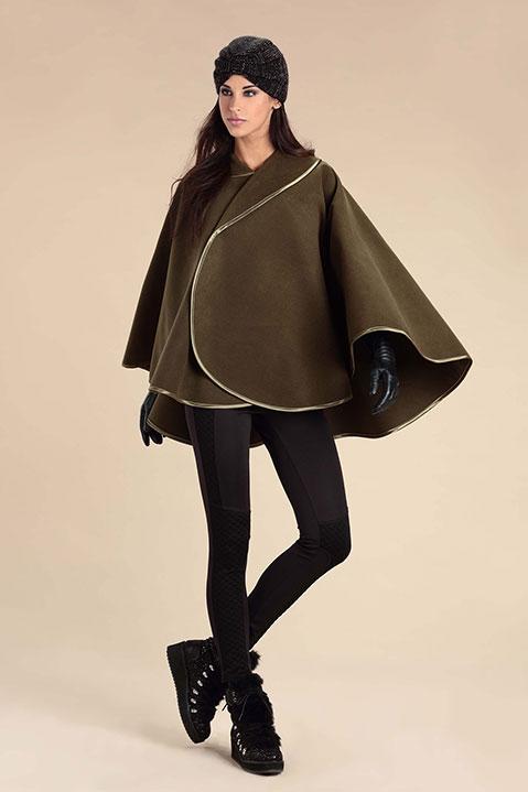 Cape kaki femme hiver en lainage avec col asymetrique (Look 1)