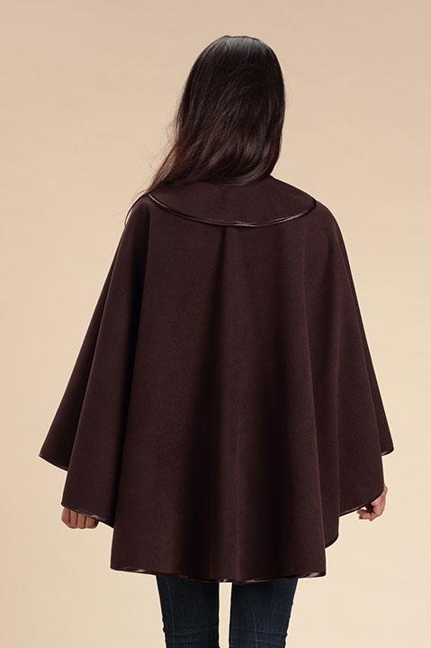 Cape marron femme hiver en lainage avec col asymetrique (Vue de Dos)