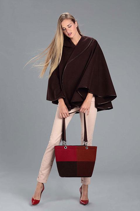 Cape marron femme hiver en lainage avec col asymetrique (Look 2)