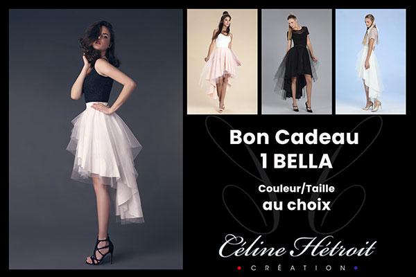 Carte Cadeau Céline Hétroit Création pour Jupe tutu noire courte devant et longue derrière en tulle
