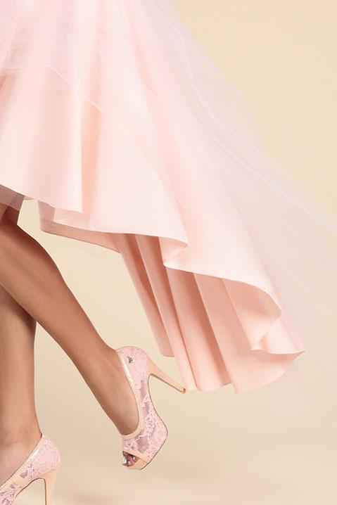 Jupe tutu rose longue devant courte derriere en tulle (Look 2)