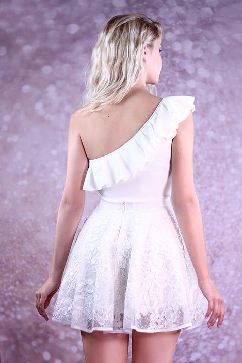 Robe de mariee jupe patineuse courte ivoire brodee (vue de dos)