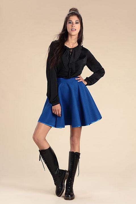 Jupe patineuse bleu roi en lainage (Look 1)