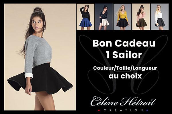 Carte Cadeau Céline Hétroit Création pour Mini Jupe patineuse en lainage Bleu Marine