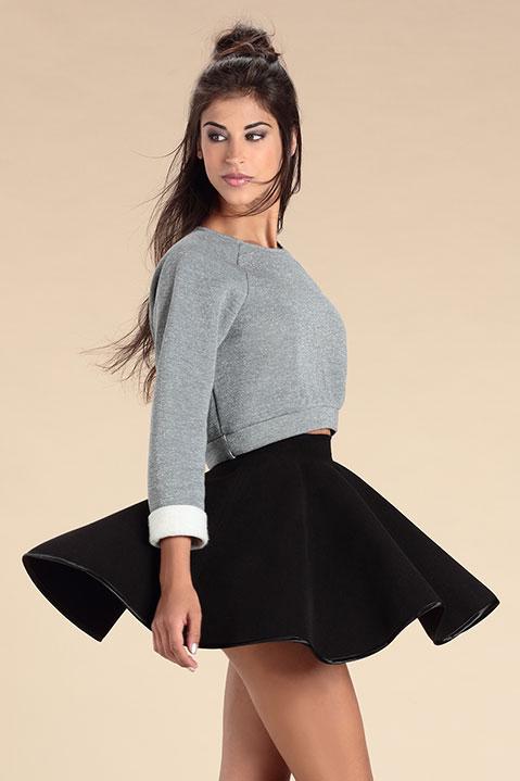Mini Jupe patineuse noire en lainage (Look 2)