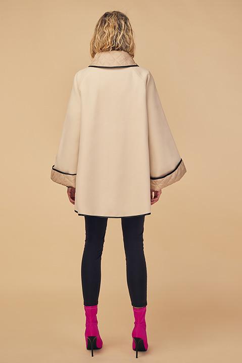 Manteau mi-long creme noir en lainage avec poches et manches kimono (Vue de dos)
