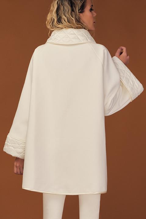 Manteau mi-long ivoire en lainage avec poches et manches kimono (Vue de dos)