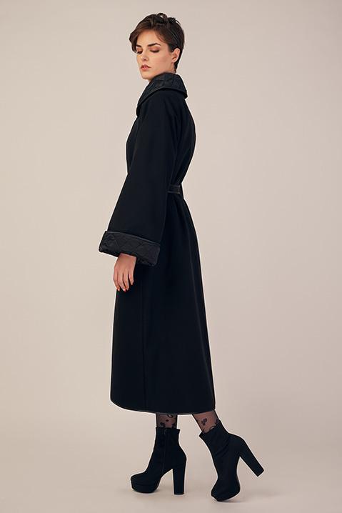Manteau long noir en lainage avec ceinture et manches kimono (Vue profil)