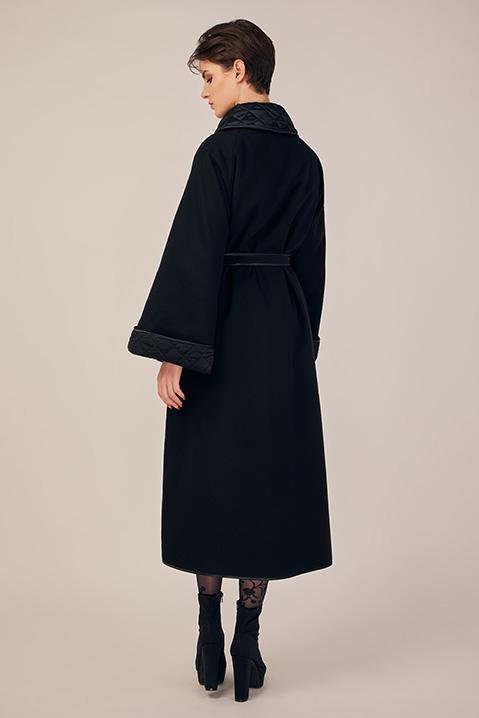 Manteau long noir en lainage avec ceinture et manches kimono (Vue dos)