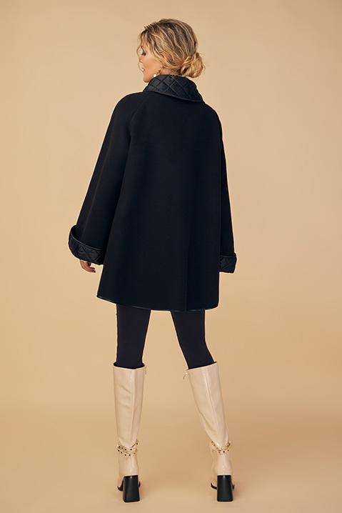 Manteau mi-long noir en lainage avec poches et manches kimono (Vue de dos)