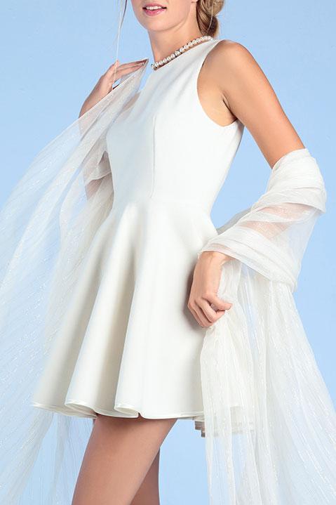 Robe de mariée courte ivoire en lainage d hiver (Vue détail)
