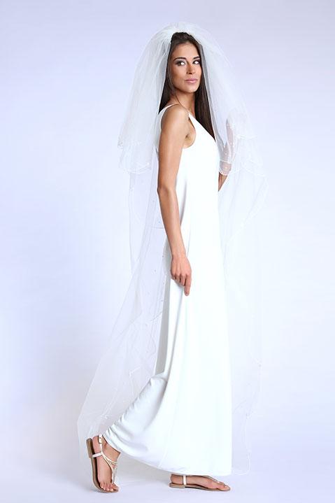 Robe de mariee longue evasee sans manche ivoire (vue de profil)