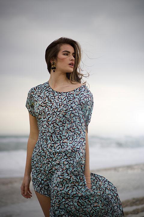 Robe d ete mi longue imprime bleu (plage)
