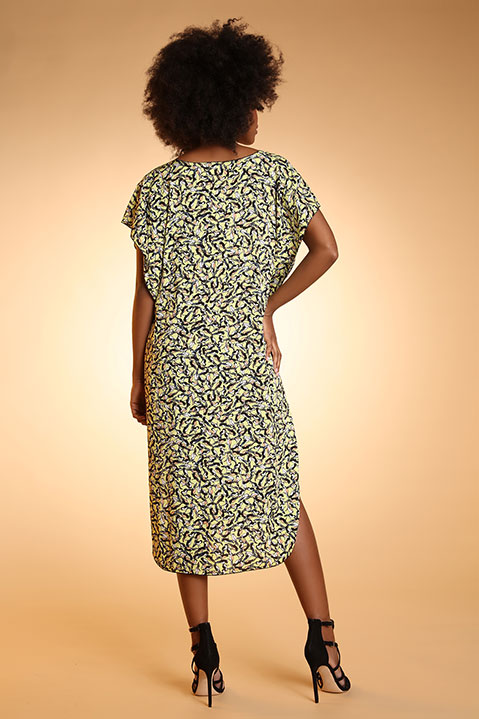 Robe d ete mi longue imprime jaune (Vue de dos)