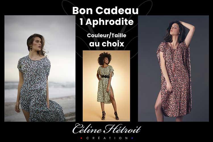 Carte Cadeau Céline Hétroit Création pour Robe d'été mi longue imprimée jaune