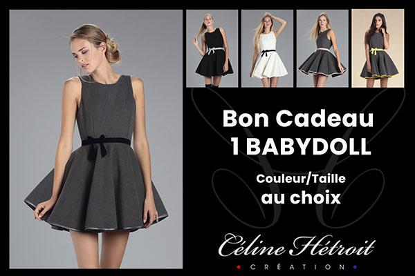 Carte Cadeau Céline Hétroit Création pour Robe patineuse en lainage noir et ceinture grise