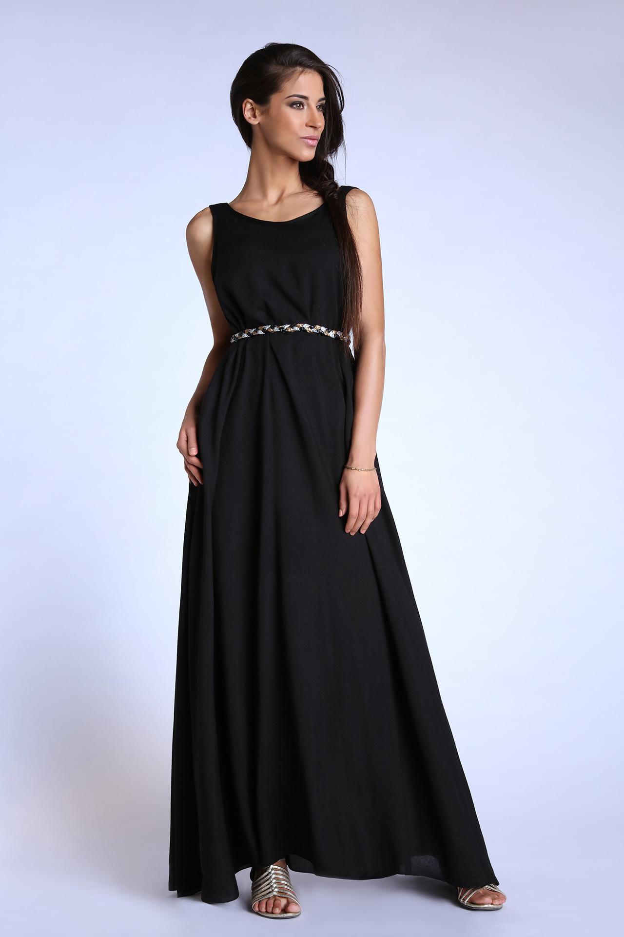 Robe de soiree noire longue et large (Look 1)