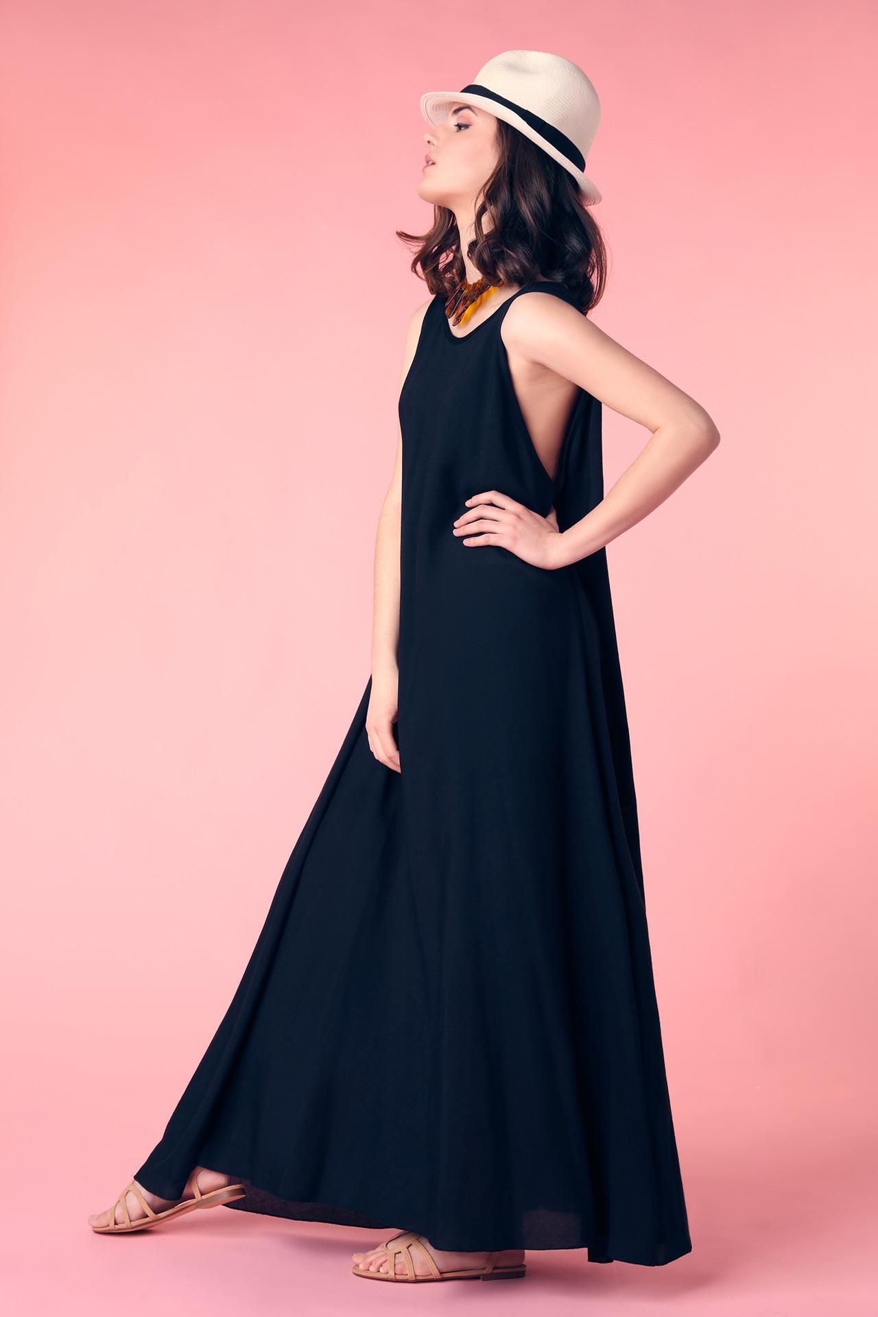 Robe de soiree noire longue et large (Look 2)