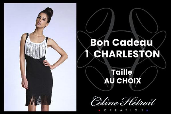 Carte Cadeau Céline Hétroit Création pour Robe de soirée noire avec franges blanches