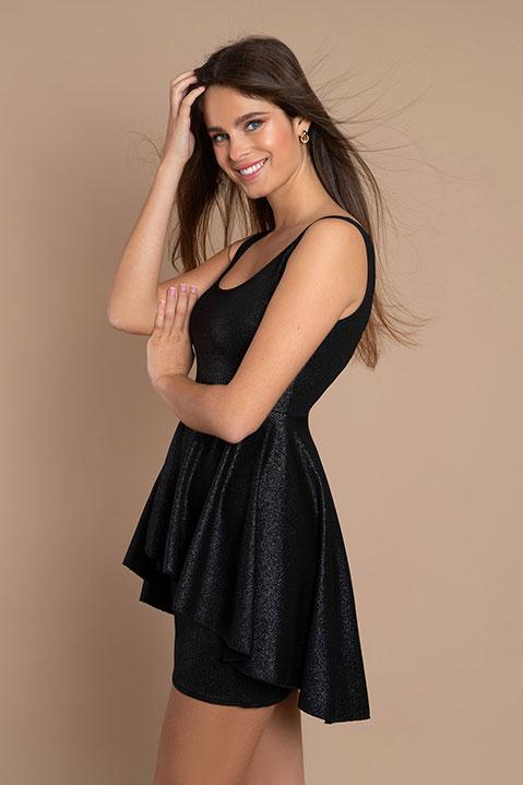Robe de soiree avec basques noire (en pied)