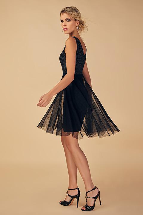 Robe de soiree noire speciale danse (vue de profil)
