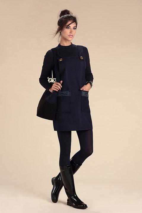 Robe Salopette en lainage Bleu Marine (Look 1 avec Sac)