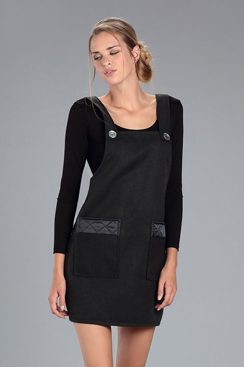 Robe Salopette en lainage Gris Anthracite (Vue de Face Pose)