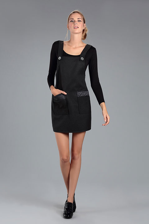 Robe Salopette en Lainage Gris Anthracite