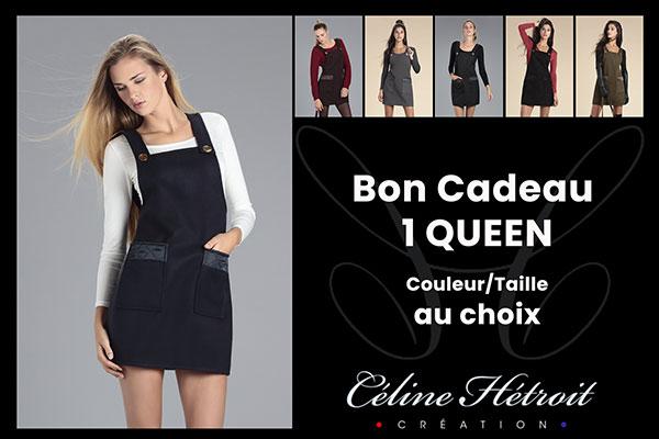 Carte Cadeau Céline Hétroit Création pour Robe Salopette en Lainage Gris Anthracite