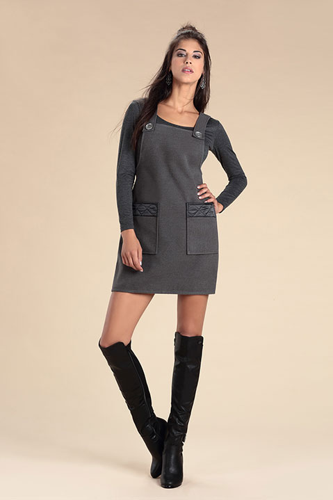 Robe Salopette en lainage Gris (Look 2 Vue de Face en pied)