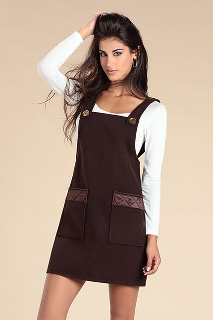 Robe Salopette en Lainage marron