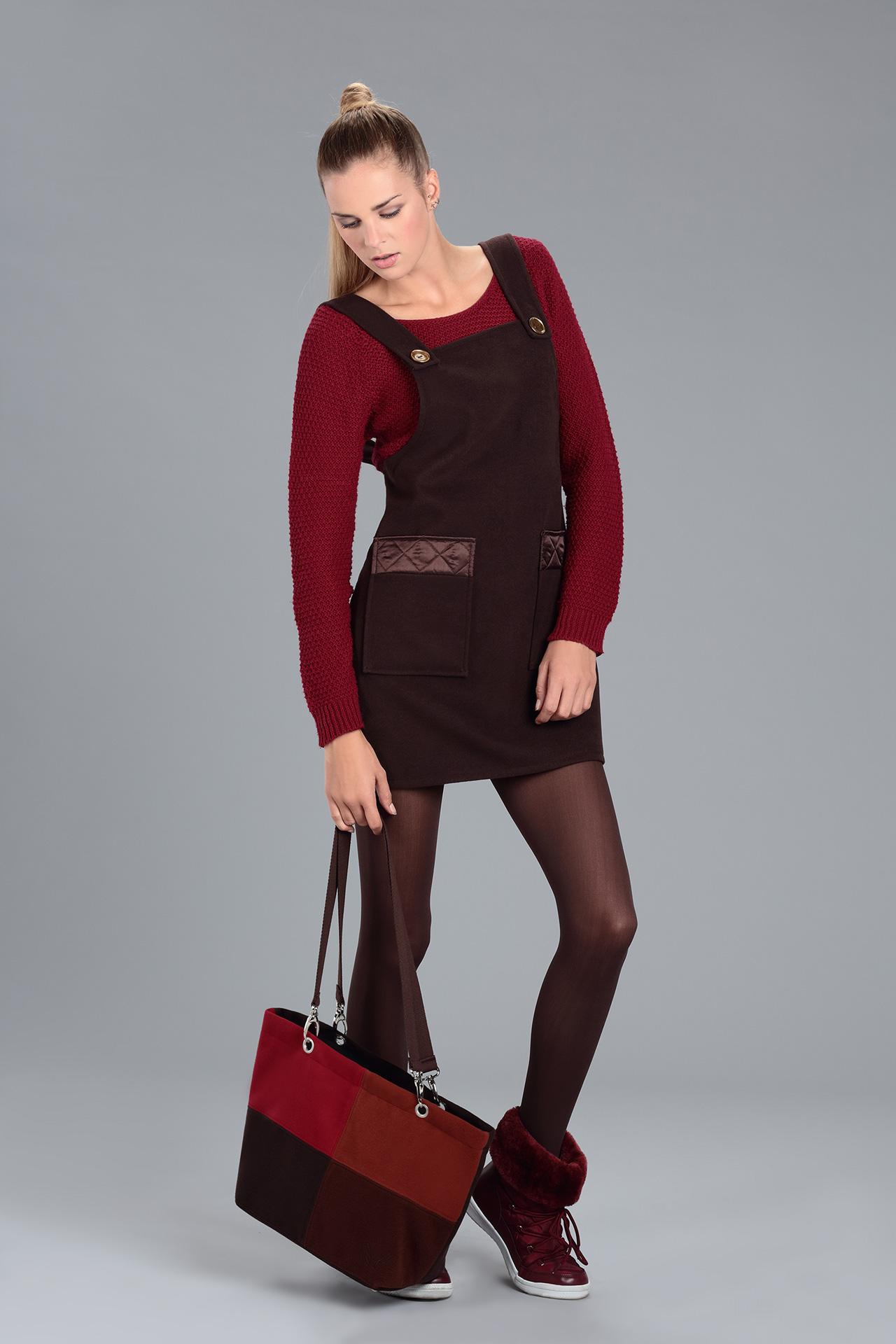 Robe Salopette en lainage marron (Look 2 avec sac)