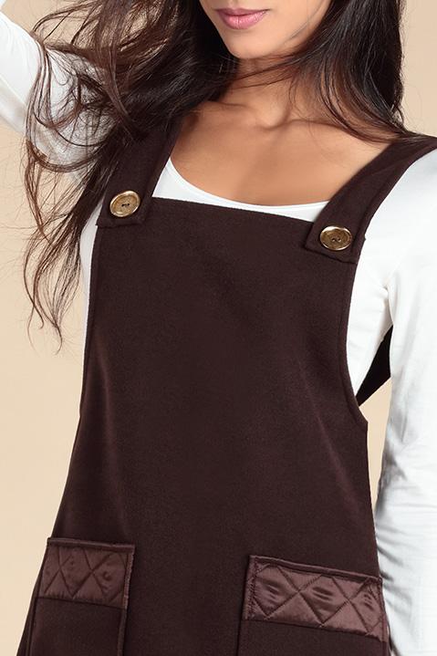 Robe Salopette en lainage marron (Vue de detail)