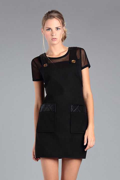 Robe Salopette en Lainage Noir