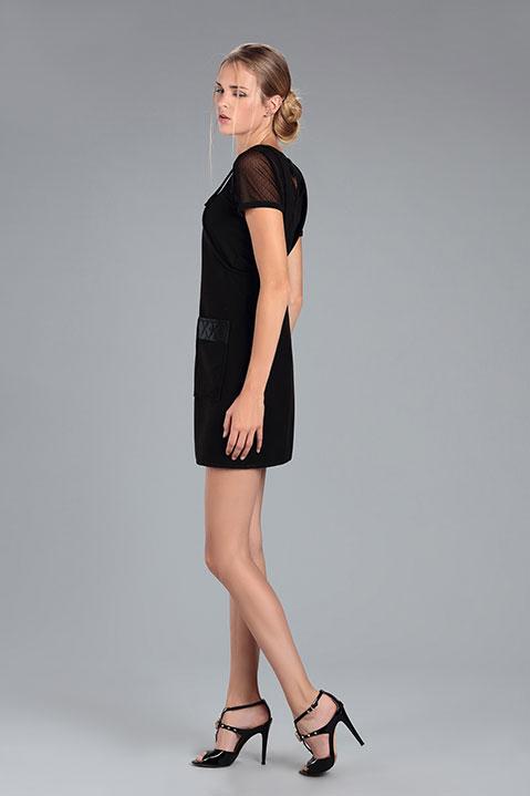 Robe Salopette en lainage noir (Vue de Profil)