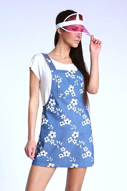Robe salopette bleu denim imprimé fleuri