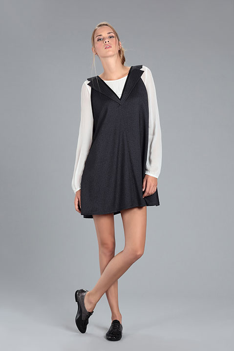 Robe evasee courte avec Col Tailleur Grise (Look 1)