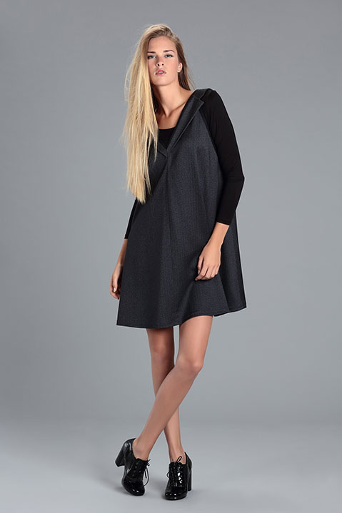 Robe evasee avec Col Tailleur Grise (Look 2)