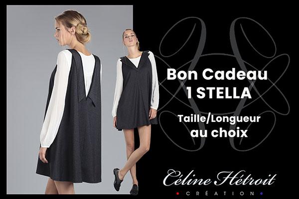 Carte Cadeau Céline Hétroit Création pour Robe évasée Col Tailleur en Tweed Gris