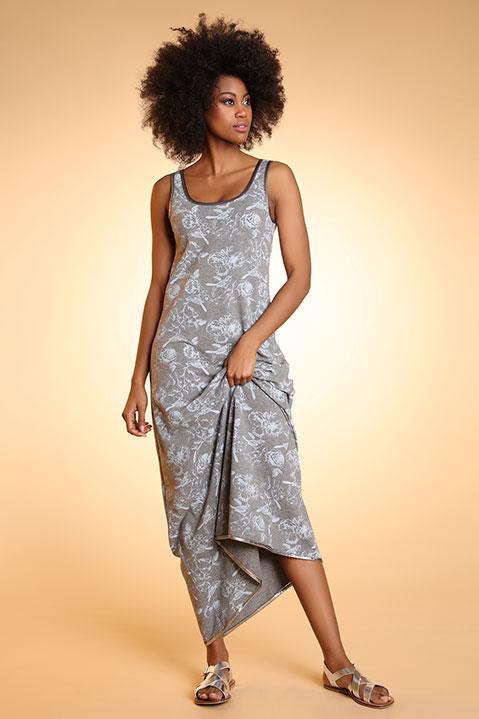 Robe longue évasée sans manche grise imprimé
