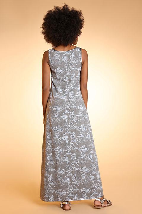 Robe longue evasee sans manche imprime gris (vue de dos)