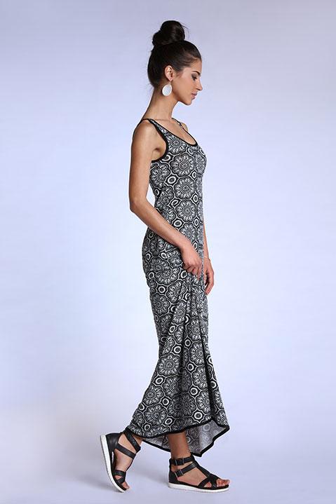 Robe longue evasee sans manche motif noir et blanc (vue de profil)