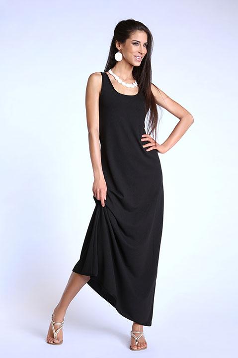 Robe longue evasee sans manche noire (Look 1)