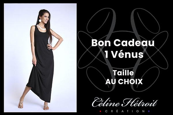 Carte Cadeau Céline Hétroit Création pour Robe longue évasée sans manche noire