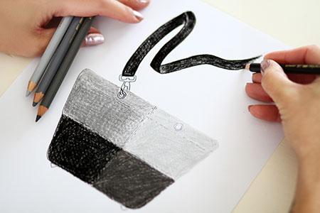Dessin Sac à main en lainage gris
