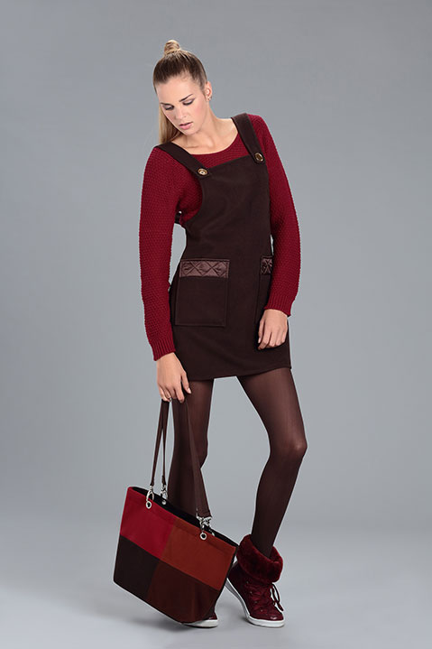 Sac a main en lainage marron (Look 3 avec Robe Tablier)