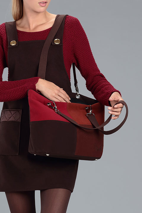 Sac a main en lainage marron (Look 4 avec Robe Tablier)
