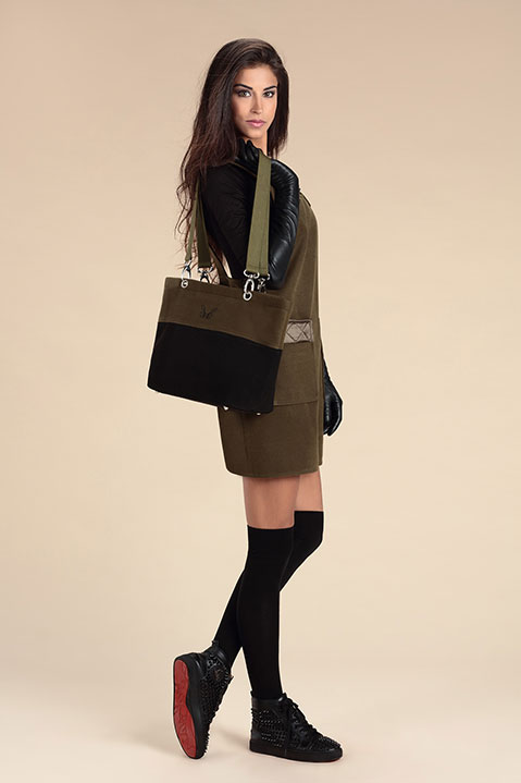 Sac a main en lainage kaki (Look 1 avec Robe Tablier)