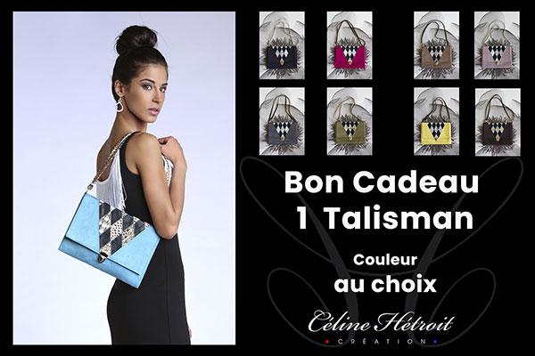 Carte Cadeau Céline Hétroit Création pour Sac à main pochette en suédine noire