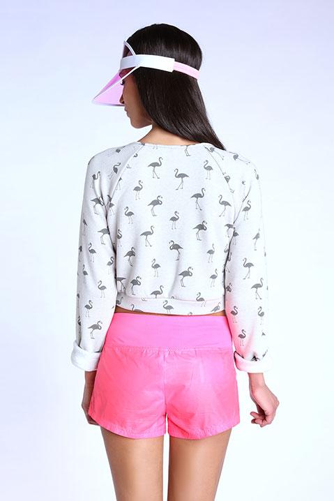 Sweatshirt court gris avec flamants (Vue de dos)
